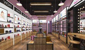 Thiết kế Shop Mỹ Phẩm Mặt Hoa Da Phấn Tuyệt Đẹp