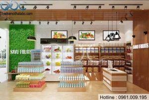 Thiết kế thi công siêu thị mini SaVu Fruits tại Bắc Ninh