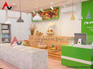 Thiết kế cửa hàng hoa quả sạch 25m2 đơn giản mà hiệu quả