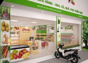 Thiết kế cửa hàng rau củ quả, thực phẩm sạch Cherry