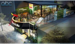 Thiết kế quán cafe diện tích lớn 2 tầng sang trọng
