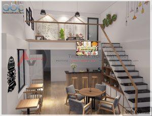 Thiết kế nội thất quán kem trà sữa 2 tầng Hà Nội