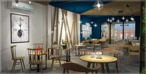 Thiết kế nội thất quán cafe 200m2 tại Hưng Yên cực chất