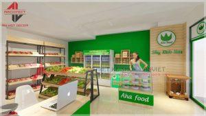 Thiết kế cửa hàng thực phẩm sạch Aha Food tại Hà Nội