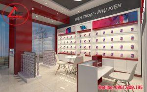 Thiết kế cửa hàng điện thoại nhỏ đẹp tại Bắc Ninh