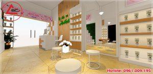 Thiết kế cửa hàng mỹ phẩm nhỏ xinh tại Ba Vì