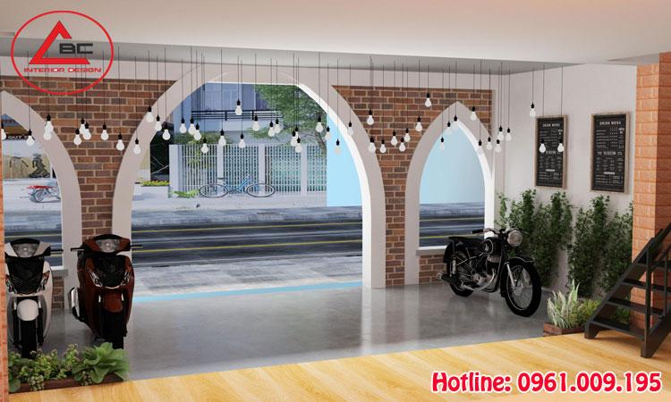 thiết kế quán cà phê 2 tầng
