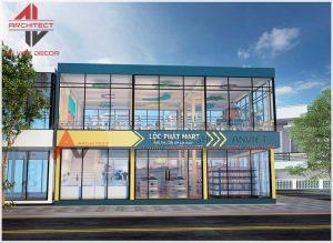 Thiết kế siêu thị 2 tầng, không gian trưng bày sản phẩm đẹp