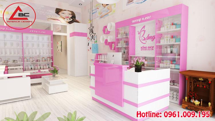 thiết kế shop mỹ phẩm hiện đại