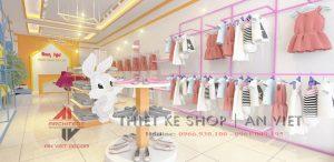 Thiết kế cửa hàng thời trang cho bé Bon Kids ở Hải Dương