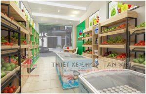 Thiết kế cửa hàng thực phẩm sạch Hoàng Long 40m2 ở Hà Nội