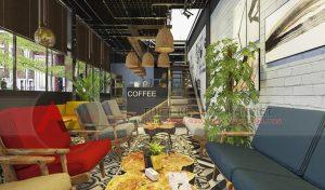 Thiết kế quán cafe khung thép hiện đại 120m2