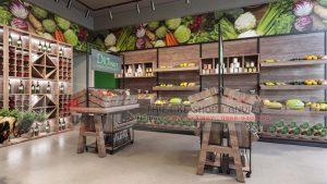Thiết kế siêu thị mini bán thực phẩm sạch 70m2 tại Hà Nội
